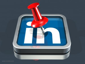 LinkedIn Logo and Push Pin